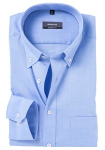 ETERNA Comfort Fit overhemd, blauw fijn Oxford (button-down)