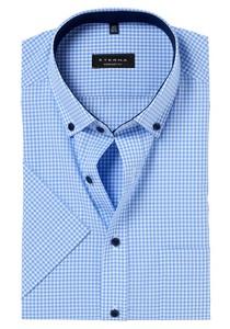 ETERNA Comfort Fit, korte mouw, lichtblauw geruit (contrast)