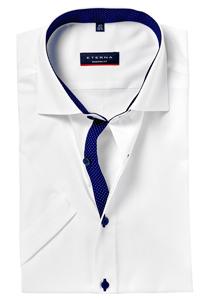 Eterna Modern Fit overhemd, korte mouw, wit fijn Oxford (contrast)