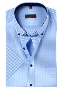 Eterna Modern Fit overhemd, korte mouw, lichtblauw geruit (contrast)