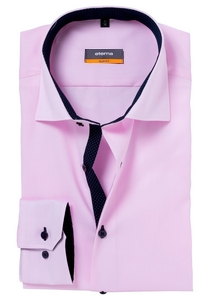 Eterna Slim Fit overhemd, roze (fijn Oxford / contrast)