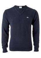 Lacoste heren trui wol, V-hals, marine blauw