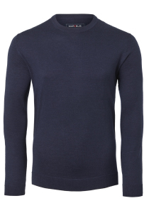 MARVELIS heren trui wol, O-hals, donkerblauw