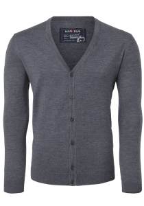 MARVELIS heren vest wol, V-hals, antraciet grijs melange