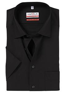 MARVELIS Modern Fit, overhemd korte mouw, zwart