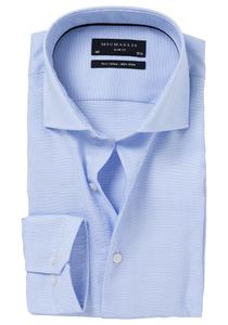 Michaelis Slim Fit overhemd, licht blauw (basket weave)