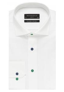 Michaelis Slim Fit overhemd, wit (gekleurde knopen)