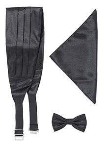Vlinderdas, cummerband en pochet zwart