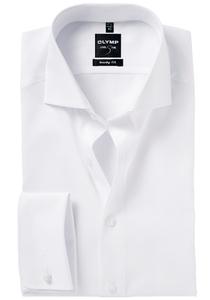 OLYMP Level 5 overhemd, mouwlengte 7, dubbele manchet, wit