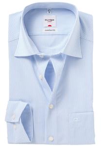 OLYMP Comfort Fit overhemd, wit / blauw gestreept