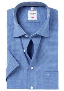 OLYMP Comfort Fit, overhemd korte mouw, donker blauw ruit
