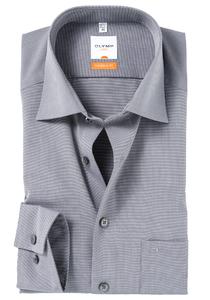 OLYMP Modern Fit overhemd, mouwlengte 7, grijs (Fil a Fil)
