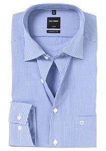 OLYMP Modern Fit overhemd, blauw / wit streepmotief