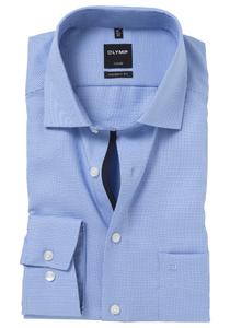 OLYMP Modern Fit overhemd, mouwlengte 7, blauw motief