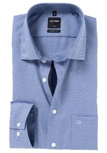 OLYMP Modern Fit overhemd, marine blauw motief (contrast)