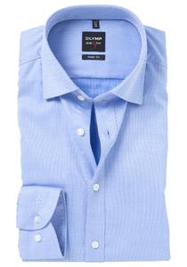 OLYMP Level 5 Body Fit overhemd, blauw (Diamant structuur)