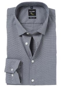 OLYMP No. 6 Six, Super Slim Fit overhemd, zwart geruit