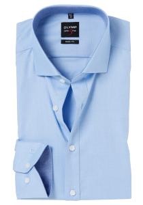 OLYMP Level 5 Body Fit overhemd, lichtblauw structuur (blauw contrast)