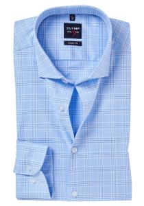 OLYMP Level 5 Body Fit overhemd, lichtblauw geruit Oxford (contrast)