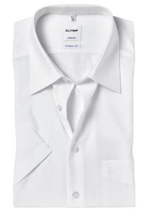 OLYMP Tendenz Modern Fit overhemd korte mouw, wit