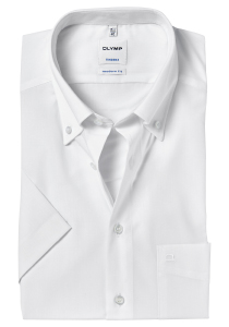 OLYMP Tendenz Modern Fit korte mouw, wit (button-down)