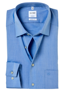 OLYMP Tendenz Modern Fit overhemd, blauw Chambray