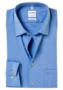 OLYMP Tendenz Modern Fit overhemd, blauw Chambray