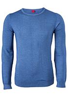 OLYMP Level 5, heren trui wol, rookblauw (Slim Fit)