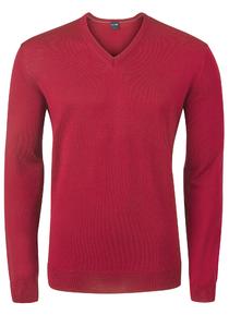 OLYMP heren trui wol, V-hals, rood