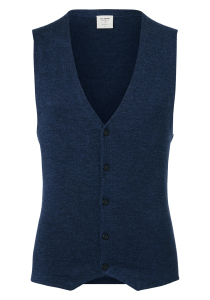 OLYMP Level 5, heren gilet wol, blauw mouwloos vest (Slim Fit)