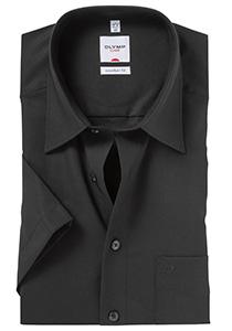 Overhemd OLYMP Comfort Fit, korte mouwen, zwart