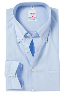 OLYMP Comfort Fit overhemd, blauw (Button Down)
