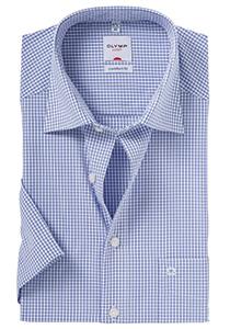 OLYMP Comfort Fit, overhemd korte mouw, blauw ruit