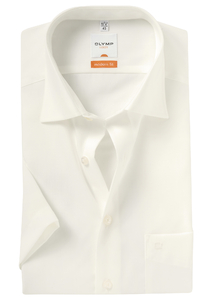 OLYMP Modern Fit, overhemd korte mouw, creme