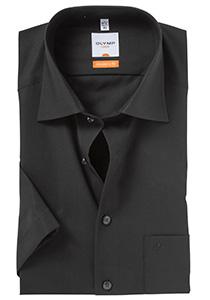 OLYMP Modern Fit, overhemd korte mouw, zwart