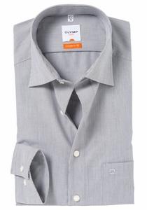 OLYMP Modern Fit overhemd, grijs / wit streepmotief