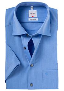 OLYMP Comfort Fit, overhemd korte mouw, middel blauw