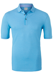 OLYMP Level 5 Body Fit poloshirt (stretch), lichtblauw melange