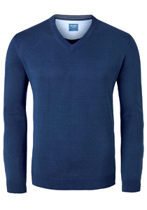 OLYMP heren trui katoen, V-hals, rookblauw