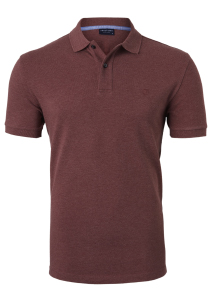 Profuomo Slim Fit polo, rood-bruin melange
