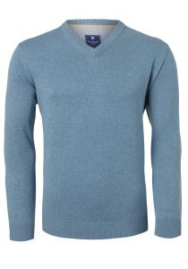 Redmond heren trui katoen, V-hals, grijs-blauw