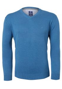 Redmond heren trui katoen, V-hals, zwembad blauw