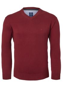 Redmond heren trui katoen, V-hals, donker rood