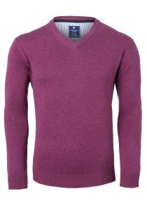 Redmond heren trui katoen, V-hals, donker roze