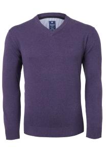Redmond heren trui katoen, V-hals, lavendel paars