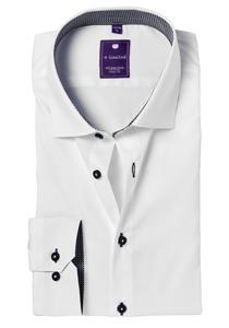 Redmond Slim Fit overhemd, wit (zwart contrast)