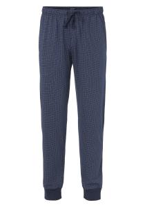 Schiesser Mix+Relax lange lounge broek (dun), blauw geruit (met boord aan de pijp)
