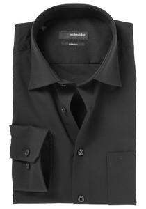 Seidensticker Modern Fit overhemd, zwart