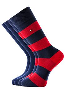 Tommy Hilfiger herensokken (2-pack), rugby blauw-rood gestreept