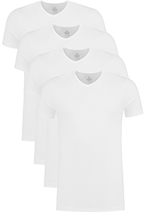 ACTIE 4-pack: VENT strak model T-shirt V-hals, wit